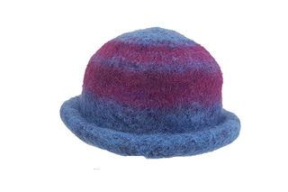 Blue Maroon Felted Hat